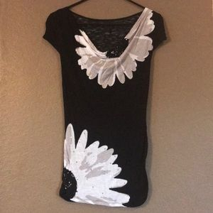 INC sequined floral Tee